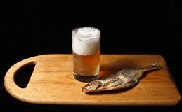 Exponeringsglas av öl och den salta fisken Fotografering för Bildbyråer