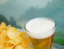Exponeringsglas av öl- och potatischiper Royaltyfri Foto