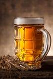 Exponeringsglas av öl på en mörk bakgrund arkivbilder