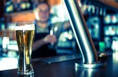 Exponeringsglas av öl på stångräknare mot bakgrund av den vänliga barten royaltyfri foto