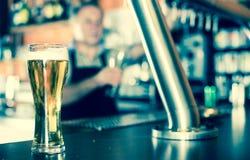 Exponeringsglas av öl på stångräknare mot bakgrund av den vänliga barten royaltyfria bilder