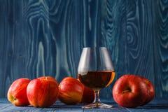 Exponeringsglas av Calvados konjak och röda äpplen Royaltyfri Fotografi