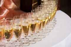 Exponeringsglas av champagne Arkivbilder