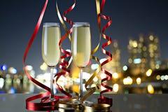 Exponeringsglas av champagne för berömmar Royaltyfri Bild