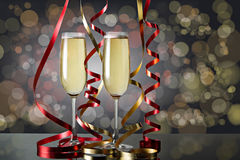 Exponeringsglas av champagne för berömmar Fotografering för Bildbyråer