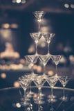 Exponeringsglas av champagne för händelseparti Royaltyfria Foton