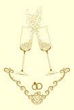 Exponeringsglas av champagne för vänner Royaltyfria Foton