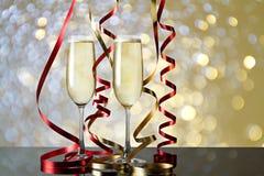Exponeringsglas av champagne för berömmar Arkivfoton