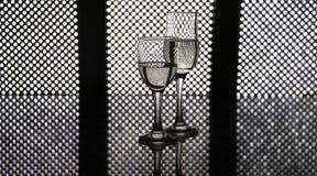Exponeringsglas av champagne ledde panelbakgrund Royaltyfria Bilder