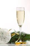Exponeringsglas av champagne och julgranen Royaltyfria Foton