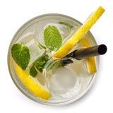 Exponeringsglas av citronsodavattendrinken fotografering för bildbyråer