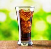 Exponeringsglas av cola med is på naturbakgrund Royaltyfri Foto