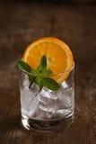 Exponeringsglas av den kalla nya drinken med den citrusa skivan Royaltyfria Foton