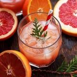 Exponeringsglas av den uppfriskande alkoholdrinken med orange fruktsaft, vodka eller vitrom tjänade som med den orange skivan för Arkivbilder