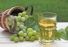 Exponeringsglas av fruktsaft för vit druva Arkivbild