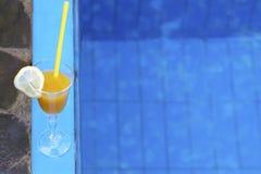 Exponeringsglas av fruktsaft med ett sugrör på kanten av pölen Arkivfoto