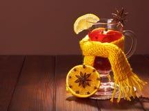 Exponeringsglas av funderat vin i halsduk och fläckljus Arkivfoto