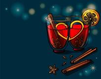 Exponeringsglas av funderat vin med blandade kryddor och apelsinen vektor stock illustrationer