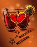 Exponeringsglas av funderat vin med blandade kryddor och apelsinen vektor vektor illustrationer