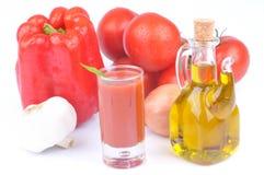 Exponeringsglas av gazpacho och dess ingredienser arkivfoto