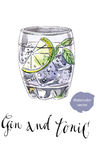 Exponeringsglas av gin och uppiggningsmedel stock illustrationer