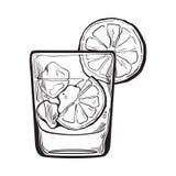 Exponeringsglas av gin, vodka, sodavattenvatten med is och limefrukt royaltyfri illustrationer