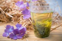 Exponeringsglas av grönt te med blommor och papper Royaltyfri Foto