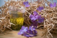 Exponeringsglas av grönt te med blommor och papper Royaltyfria Bilder