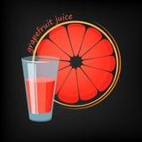 Exponeringsglas av grapefruktfruktsaft Stock Illustrationer