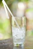 Exponeringsglas av iskuber med ett sugrör Royaltyfri Fotografi