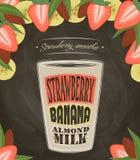 Exponeringsglas av jordgubbesmoothien som isoleras Royaltyfri Fotografi