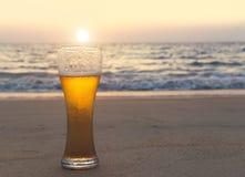 Exponeringsglas av kallt öl på havskusten på solnedgången Koppla av på stranden royaltyfri bild