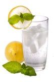 Exponeringsglas av kallt kolsyrat vatten med citronen och mintkaramellen Royaltyfria Foton