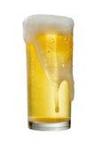 Exponeringsglas av öl som isoleras på vit bakgrund, snabb bana Arkivfoton