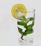Exponeringsglas av lemonad med mintkaramellen Arkivfoton