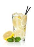 Exponeringsglas av lemonade med citronen och minten fotografering för bildbyråer
