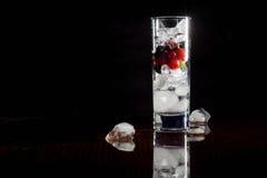 Exponeringsglas av is med vinbär och vatten för bärkrusbär röda svarta Uppfriskande coctail för citrus vatten för sommar drinkis  Arkivbild