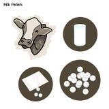 Exponeringsglas av mjölkar med mjölkar kulor på vit Royaltyfria Bilder