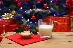 Exponeringsglas av mjölkar och en färspie för Santa Arkivfoton