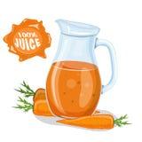 Exponeringsglas av morotfruktsaft och nya morötter stock illustrationer