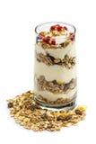 Exponeringsglas av mysli med frukter och yoghurt Arkivbilder