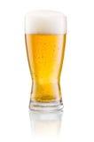 Exponeringsglas av ny öl med locket av skummar isolerat Arkivbild