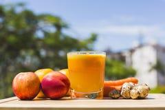 Exponeringsglas av ny frukt och grönsakfruktsaft Royaltyfri Foto