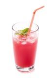 Exponeringsglas av ny fruktsaft som göras av vattenmelon Arkivfoton