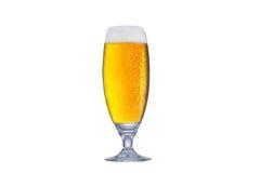 Exponeringsglas av nytt öl med locket av skum som isoleras på vit backgroun Royaltyfri Foto