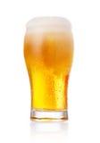 Exponeringsglas av nytt öl med locket av skum som isoleras på vit backgroun Royaltyfri Fotografi
