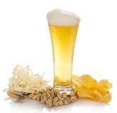 Exponeringsglas av nytt ljust öl med skum, bubblor, royaltyfria bilder