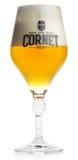 Exponeringsglas av Oaked för belgisk kornett blont öl Arkivfoto