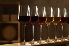 Exponeringsglas av olika viner Dyr samling royaltyfri fotografi