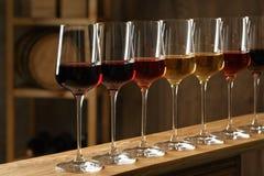 Exponeringsglas av olika viner Dyr samling royaltyfria bilder